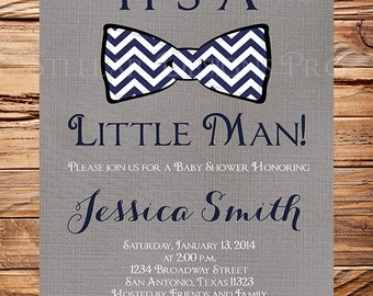 Little man Baby shower Invitation, Baby shower invitation little man, bowtie baby shower, Dark Gray Linen, Navy,  1349