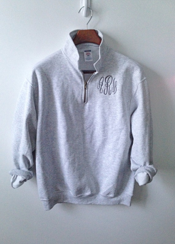 1 4 zip pullover three letter monogram With 4 zip letters