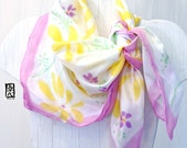 Silk Scarf Square, Gift for her, Anniversary Gift, Handpainted Yellow and Purple Wildflowers Scarf, Yellow Floral Scarf, 35x35 inches.