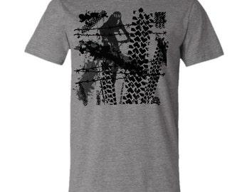 Mountain Bike T-shirt-TRACKS-Bicycle tshirt,Grey-Mountain bike gift,Bicycle gift,outdoor gift,gifts for cyclists,for him