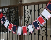 First Birthday Photo Banner - First Year Banner - Dr Seuss / Little Red Wagon / Navy & Red