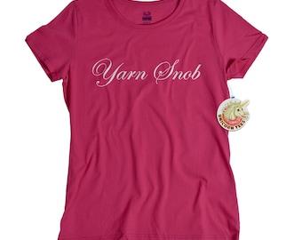 Knitting Gift Yarn Snob T-shirt Womens Knit Knitter Funny Tshirt Lover Tee Shirt Knitting Gift ...