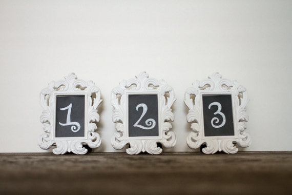 10 Mini Baroque Wedding Table Number White Fancy Picture Frames Ornate Vintage Reception Frame Centerpiece Ideas Chalkboard Vinyl PBK