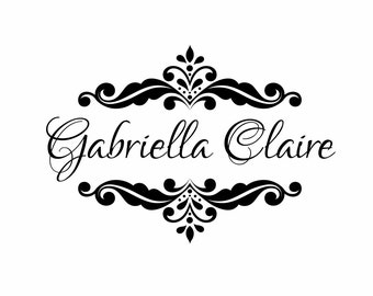 Name Wall Decal Baby Nursery Shabby Chic Heart Frame By