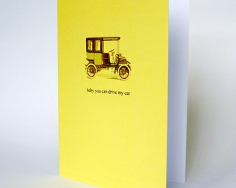 Happy birthday card . beatles baby you can drive my car . driving test congratulations retro yellow greetings cards . bff vintage design