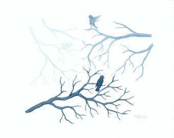 Original Bird Art: Birds and Tree Branches Watercolor Painting, Blue Nature Art, Bird Silhouette Nature Decor, Tree Branch Art 8X10