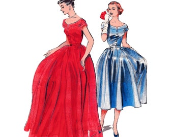 1952 Low Bateau Neckline Evening Gown, Swirling Skirt, Front Button Detailing, Optional Cocktail Length, Original Butterick 6298, Bust 32""