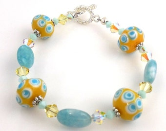 Blue and Yellow Lampwork Bracelet, Gemstone Bracelet, Fashion Jewelry, Career Wear, Gifts, Mother's Day, Valentine Day