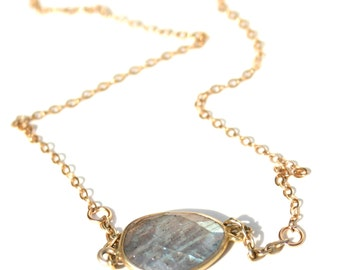 Labradorite Pendant Necklace with Gold Filled Chain