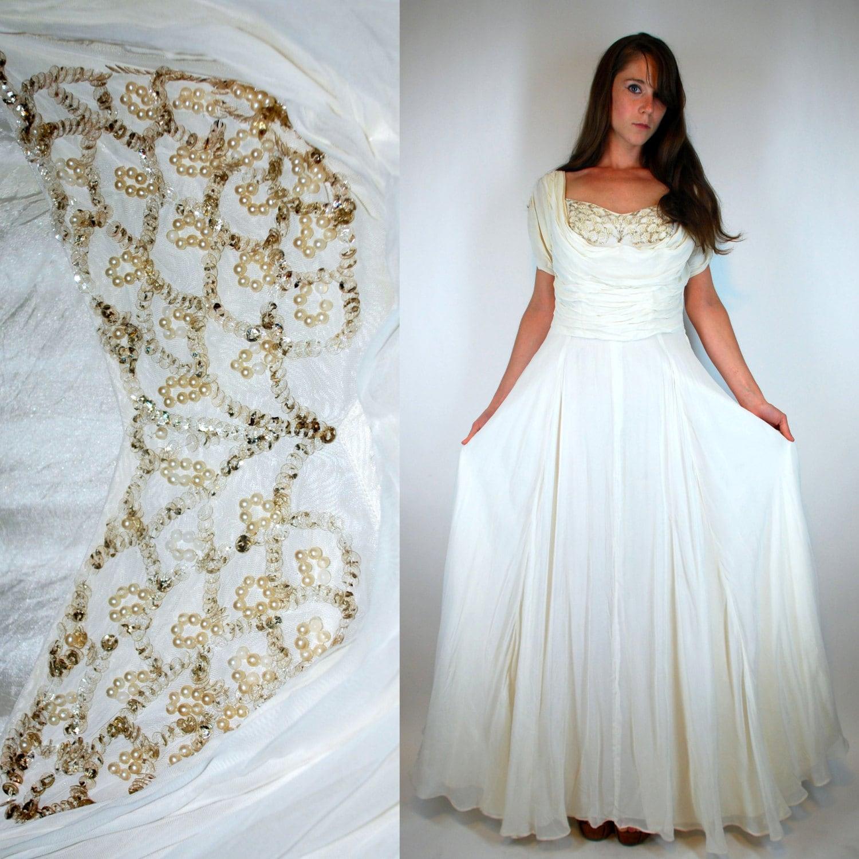 Vintage 1930s Silk Chiffon Gown Vintage White by