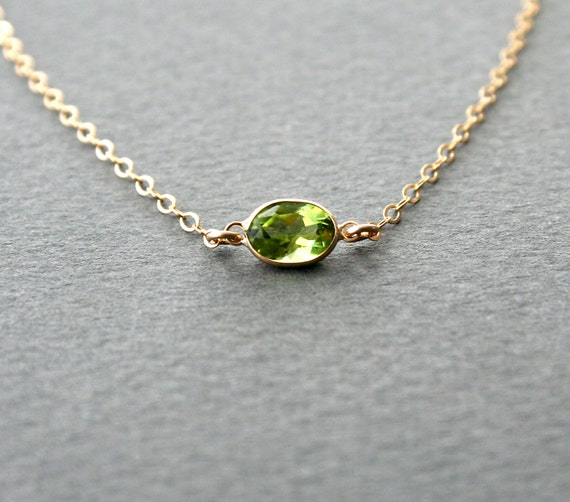 gold peridot necklace august birthstone jewelry
