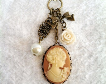 Victorian Charm Cameo Necklace (TAN and IVORY) Cameo Jewelry (Lead and Nickel Free)