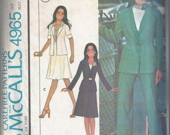 McCall's 4965 Pattern for Misses' Unlined Jacket, Skirt, & Pants, Size 14, From 1976, Marlo's Corner, Vintage Pattern, Home Sewing Pattern