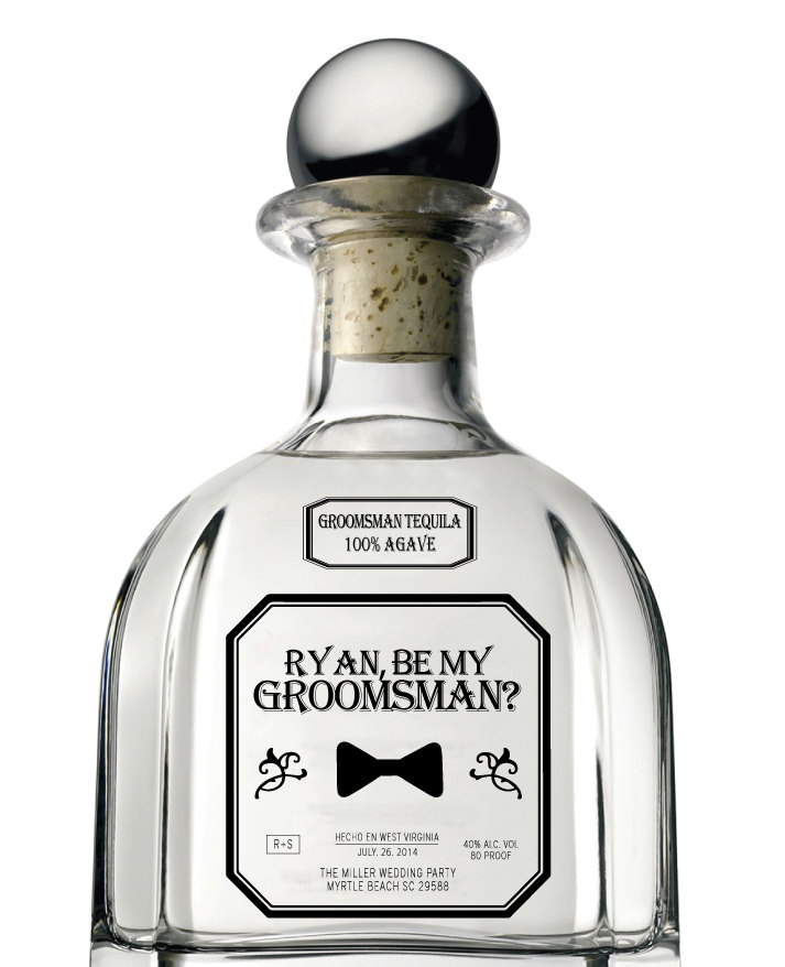 Set of 6 groomsman bridesmaid best man clear tequila style for Groomsman liquor bottle labels