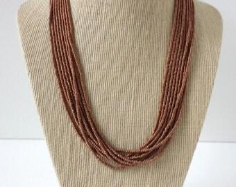 Brown necklace, copper necklace, bronze necklace, hazel necklace,beaded necklace,seed bead necklace,autumm necklace,tan necklace,bridesmaid