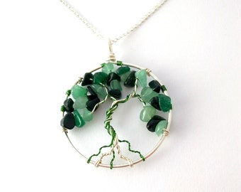 Aventurine and Green Goldstone tree necklace, Sterling Silver tree of life