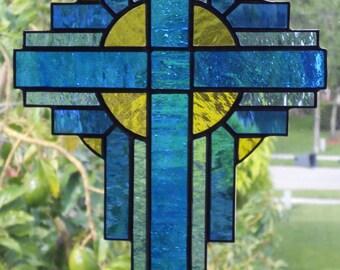 Stained Glass Cross Suncatcher,  Blue/Dark Blue  #110
