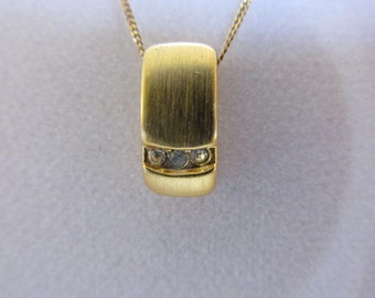 Vintage Pendant, 10K Gold Chain and Pendant, Car Drop, Collectible Jewelry, Three Crystals, Marked PSB 10k
