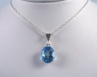 TOPAZ - Swiss Blue Blue Topaz Solitaire Sterling Silver Necklace 4.34 carats - FREE SHIPPING
