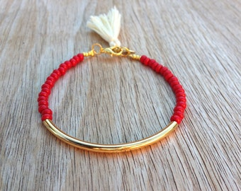Gold tube bracelet, Beaded Bracelet, beaded bangle, tassel bracelet, Friendship bracelet, seed beads bracelet, seed beads bangle, red beads