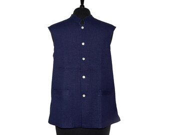 LONG Cotton Quilted WAISTCOAT - Blue, reverse Pale Blue - All sizes - Unisex