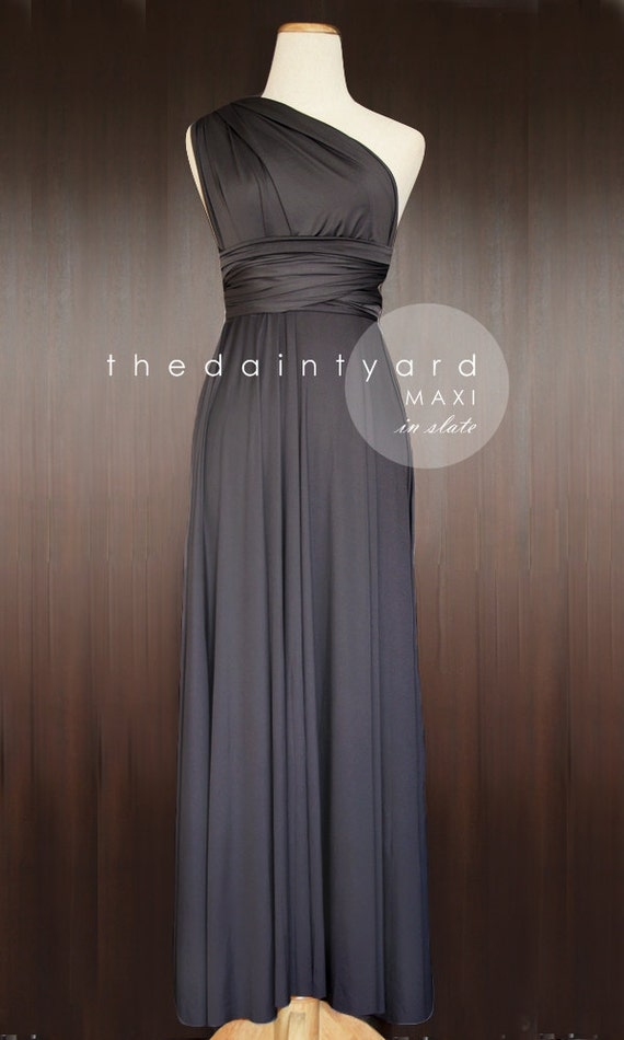 Maxi Length Slate Bridesmaid Convertible Dress Infinity Dress Multiway Wrap Dress Prom Maxi Long Dress Dark Grey Gray Charcoal