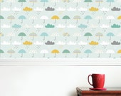 Umbrellas and Rain Clouds Wallpaper  - Removable and Repositionable decal Turquoise, Teal, Grey, Yellow, Blue, White