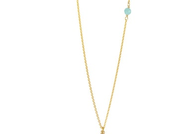 "Long necklace ""Pompon"" Amazonite, gold filled"