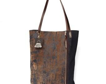 Tote denim bag with leather handles,tote with zipper,large denim bag,shoulder bag, handmade bag,unique bag, minimalist tote bag,simple bag