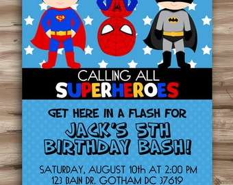 Superhero Birthday Invitation, Superhero Invitation, Birthday Invite Superhero, Hero Superhero Invite Superhero Digital Printable, JPG File