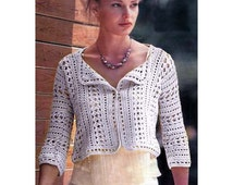 Crochet jacket PATTERN, crochet shrug pattern, wedding crochet jacket PATTERN only, PDF description in English, beach crochet shrug pattern.
