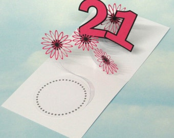 21st Birthday Card Flowers Spiral Pop Up 3D - Pink Flowers