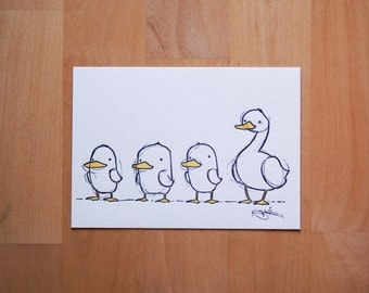 Duck, Duck, Duck....Goose! Illustration Letterpress 5x7 Print on 100% Cotton Paper