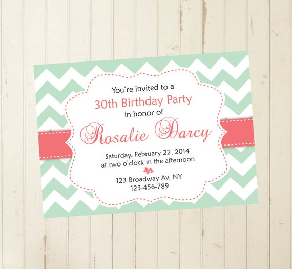 30th Birthday Invite 60th 50th 40th Mint And Coral Invitation Tea Party Brunch Printable 109