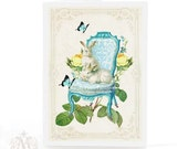Rabbit card, blue, butterfly, Regency chair, yellow roses, white rabbit, rabbit on a chair, Easter card, bunny rabbit, birthday card, blank