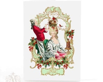 Christmas card, Marie Antoinette with birds nest, holly, red berries, mistletoe, Noel, French, holiday card