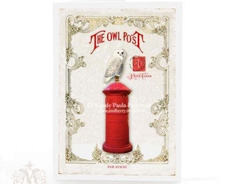 Christmas card, Owl on red post box, Australian mail box, French vintage holiday greeting
