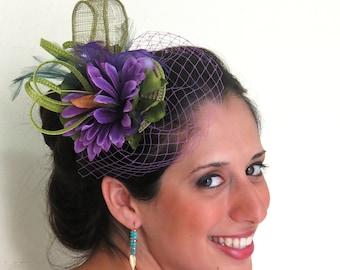 Fascinator - STAVVY SMALL PURPLE, fascinator hat with veil, purple fascinator flower feathers