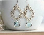 Laurel Wreath Earring, Aqua, Aquamarine Blue, Gold Plated Chandelier Earring. Blue Wedding. Bridesmaid Gift. Something Blue, Beach Wedding