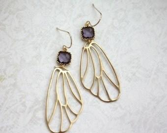 Gold Wings Earrings. Angel Filigree Wings with Purple Egg Plant Gold Filigree Earrings. Purple Gold Wedding Idea. Bridal. Bridesmaids Gift