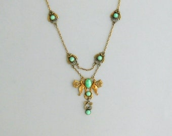 Jugendstil Festoon Necklace. Peking Glass. Late Nouveau Early Art Deco.
