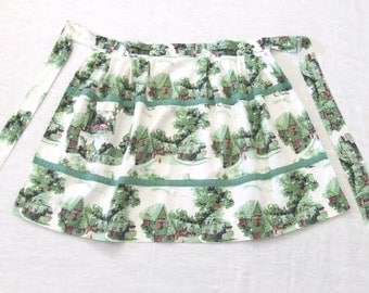 Apron English Village in Green Print 1960s