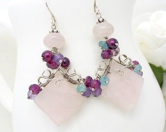 Long rose quartz earrings in sterling silver, with purple amethyst, aquamarine and pink garnet