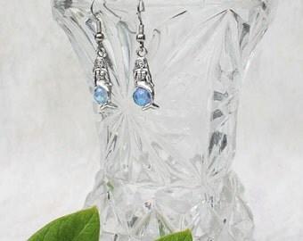 Mermaid and Crystal Earrings, Handmade Women's Beach Jewelry, Mermaid DangleEarrings