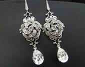 Bridal Earrings,Swarovski Crystal Wedding Earrings,Teardrop Chandelier Dangle Earrings,Vintage Style Bridal Jewelry,Dangle Earrings,ROSELANI