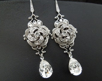 Bridal Earrings Swarovski Crystal Wedding Earrings Teardrop Chandelier Dangle Earrings Vintage Style Bridal Jewelry Dangle Earrings ROSELANI