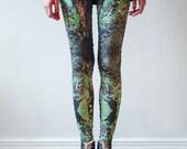 Kaleidoscopic green and black leggings by fashion brand QooQoo NIGHT GARDEN