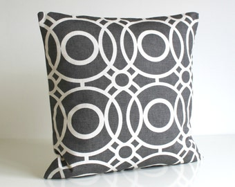 Throw Pillow Cover, 20 Inch Cushion Cover, Decorative Throw Cushion, Pillow Cover, 20x20 Pillow Sham, Pillow Case - Trellis Circles Charcoal