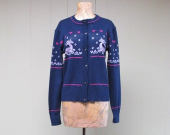 Vintage 1970s Sweater / 70s does 40s Blue Nordic Reindeer Cardigan / Small - Medium