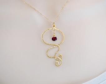 Garnet Birthstone Necklace, Minimal Necklace, Statement Necklace, Gemstone Necklace, Gifts for Her, Pendant Necklace, January Birthstone,